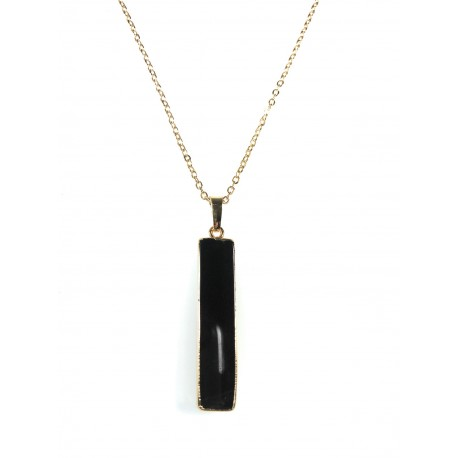 Collier Lingot Noir Agate vertical plaqué or 24K